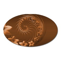 Brown Abstract Flowers Magnet (Oval)