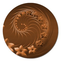 Brown Abstract Flowers Magnet 5  (Round)