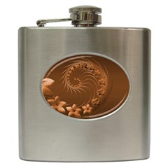 Brown Abstract Flowers Hip Flask