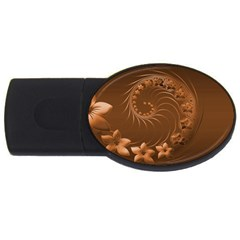 Brown Abstract Flowers 1GB USB Flash Drive (Oval)