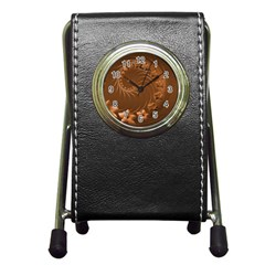 Brown Abstract Flowers Stationery Holder Clock