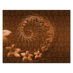 Brown Abstract Flowers Jigsaw Puzzle (Rectangle)