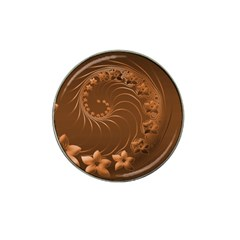 Brown Abstract Flowers Golf Ball Marker (for Hat Clip)