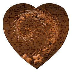 Brown Abstract Flowers Jigsaw Puzzle (heart)