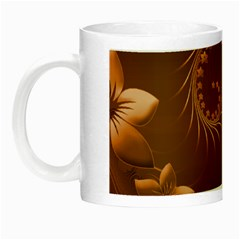 Brown Abstract Flowers Glow in the Dark Mug