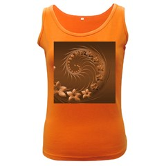 Brown Abstract Flowers Womens  Tank Top (dark Colored)