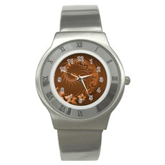Brown Abstract Flowers Stainless Steel Watch (Unisex)