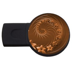 Brown Abstract Flowers 4GB USB Flash Drive (Round)