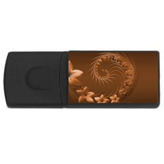 Brown Abstract Flowers 4GB USB Flash Drive (Rectangle)