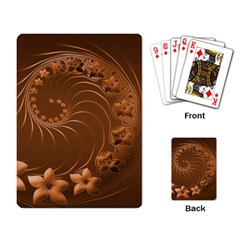 Brown Abstract Flowers Playing Cards Single Design