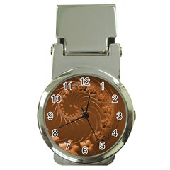 Brown Abstract Flowers Money Clip with Watch