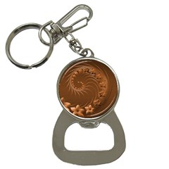 Brown Abstract Flowers Bottle Opener Key Chain