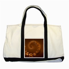 Brown Abstract Flowers Two Toned Tote Bag