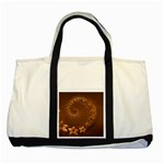 Brown Abstract Flowers Two Toned Tote Bag Front