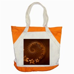 Brown Abstract Flowers Accent Tote Bag