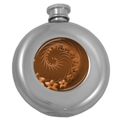 Brown Abstract Flowers Hip Flask (Round)