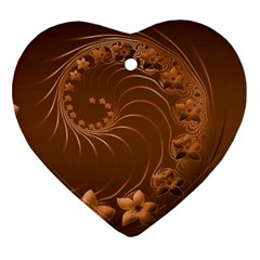 Brown Abstract Flowers Heart Ornament (two Sides)