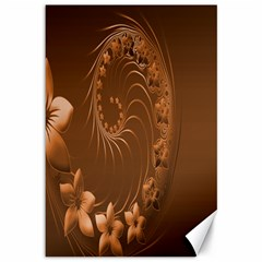 Brown Abstract Flowers Canvas 12  x 18  (Unframed)