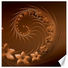 Brown Abstract Flowers Canvas 20  X 20  (unframed)