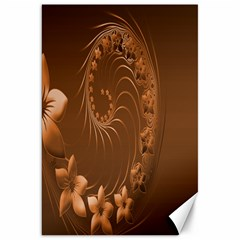 Brown Abstract Flowers Canvas 20  X 30  (unframed)