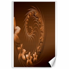 Brown Abstract Flowers Canvas 24  x 36  (Unframed)