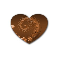 Brown Abstract Flowers Drink Coasters 4 Pack (Heart)
