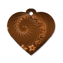 Brown Abstract Flowers Dog Tag Heart (One Sided)