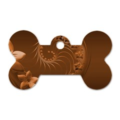 Brown Abstract Flowers Dog Tag Bone (one Sided)