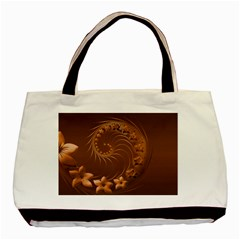 Brown Abstract Flowers Twin-sided Black Tote Bag