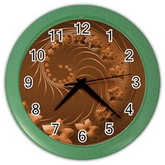 Brown Abstract Flowers Wall Clock (Color)