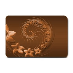 Brown Abstract Flowers Small Door Mat