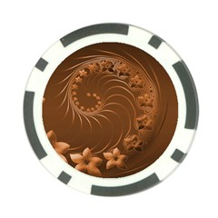 Brown Abstract Flowers Poker Chip