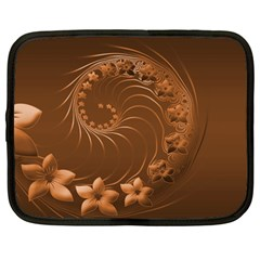 Brown Abstract Flowers Netbook Case (Large)
