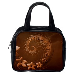 Brown Abstract Flowers Classic Handbag (one Side)