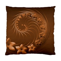 Brown Abstract Flowers Cushion Case (Two Sides)