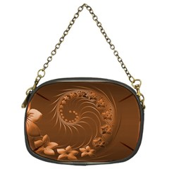 Brown Abstract Flowers Chain Purse (two Side)