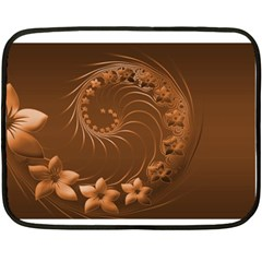 Brown Abstract Flowers Mini Fleece Blanket (Two-sided)