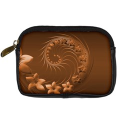 Brown Abstract Flowers Digital Camera Leather Case