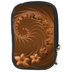 Brown Abstract Flowers Compact Camera Leather Case