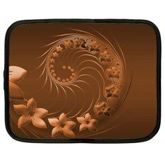 Brown Abstract Flowers Netbook Case (XXL)