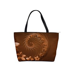Brown Abstract Flowers Large Shoulder Bag