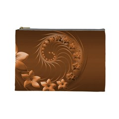 Brown Abstract Flowers Cosmetic Bag (Large)