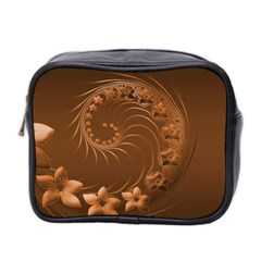 Brown Abstract Flowers Mini Travel Toiletry Bag (Two Sides)