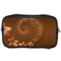 Brown Abstract Flowers Travel Toiletry Bag (One Side)