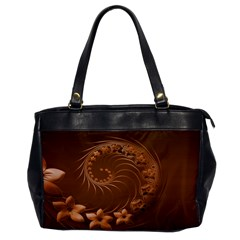 Brown Abstract Flowers Oversize Office Handbag (One Side)