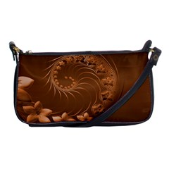 Brown Abstract Flowers Evening Bag