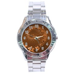 Brown Abstract Flowers Stainless Steel Watch (Men s)
