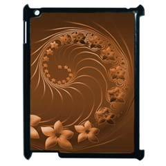 Brown Abstract Flowers Apple iPad 2 Case (Black)