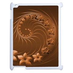 Brown Abstract Flowers Apple Ipad 2 Case (white)