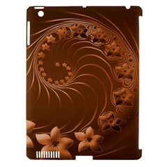 Brown Abstract Flowers Apple Ipad 3/4 Hardshell Case (compatible With Smart Cover)